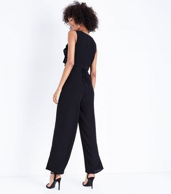 Black Crepe Frill Front Jumpsuit New Look