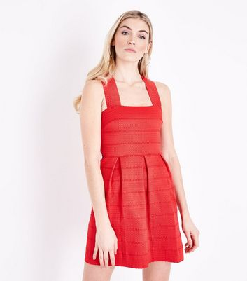 Red Bandage Skater Dress New Look