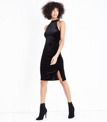 Black Velvet High Neck Bodycon Dress New Look