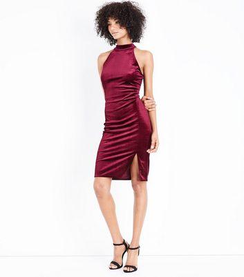 Burgundy Velvet High Neck Bodycon Dress New Look