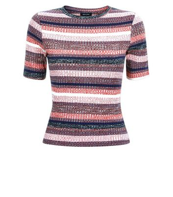 Pink Ribbed Multi Stripe T-Shirt New Look