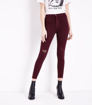 Burgundy Distressed High Waist Skinny Hallie Jeans New Look