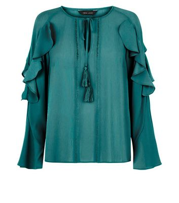 Green Tie Neck Frill Sleeve Top New Look