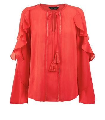 Red Tassel Tie Neck Frill Sleeve Blouse New Look