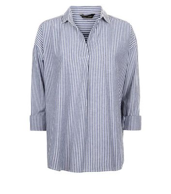 Blue Stripe Overhead Shirt New Look