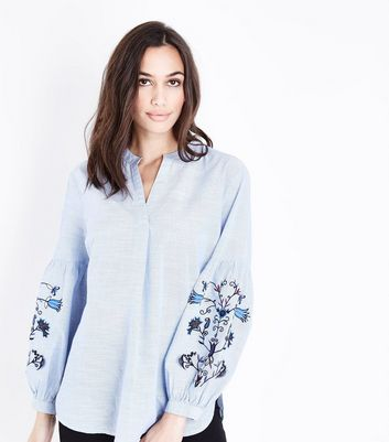 Blue Floral Embroidered Sleeve Overhead Shirt New Look