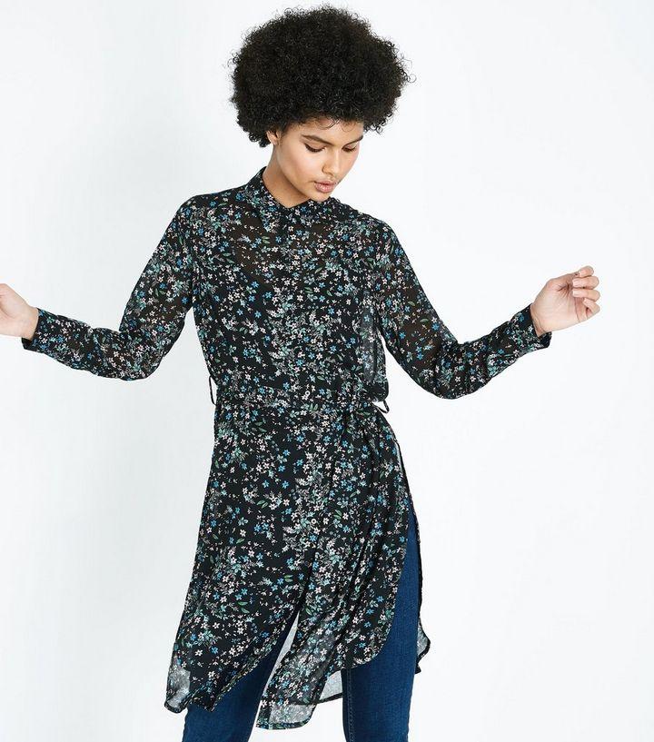 e4556181b Black Floral Chiffon Longline Shirt   New Look