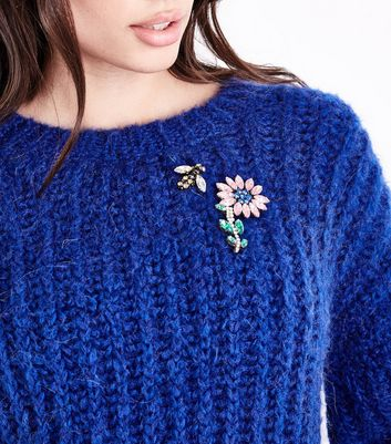 Multi Colour Flower And Bee Brooches New Look