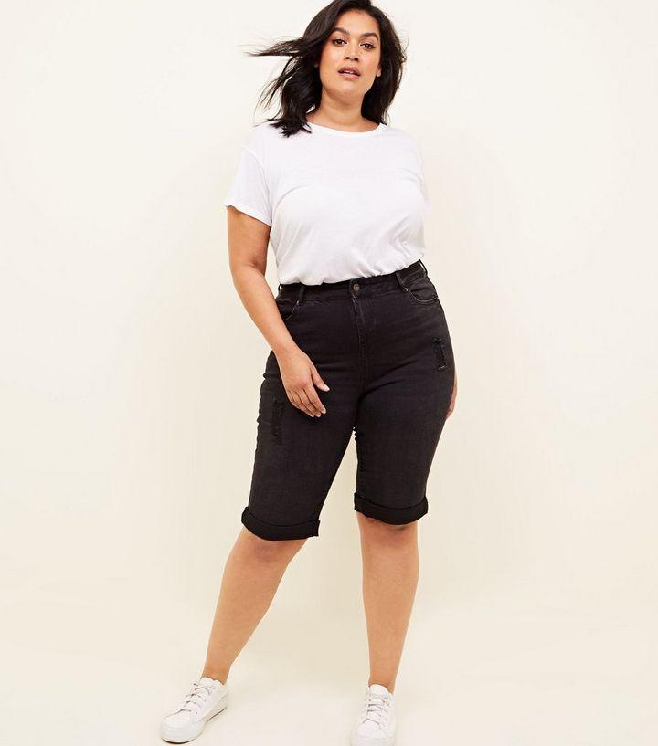 6053d1549 Curves Black Knee Length Denim Shorts   New Look