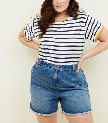 Curves Blue Denim Shorts