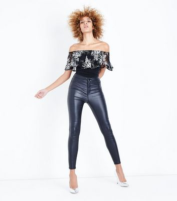 Black Metallic Frill Bardot Neck Bodysuit New Look