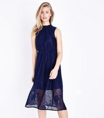 Mela Navy High Neck Lace Dress