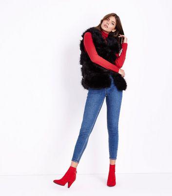 Cameo Rose Black Faux Fur Gilet New Look