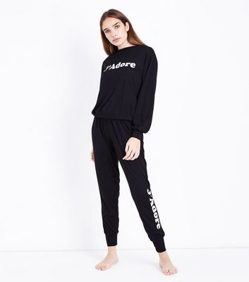 Black J'Adore Slogan Front Pyjama Sweater New Look