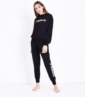 Black J'Adore Slogan Glitter Side Pyjama Joggers New Look