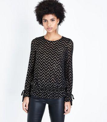 Black Glitter Chevron Lace Blouse New Look