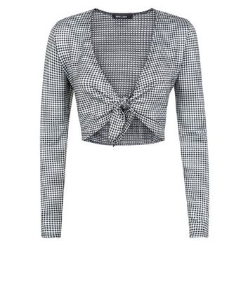 Grey Gingham Tie Front Crop Top New Look