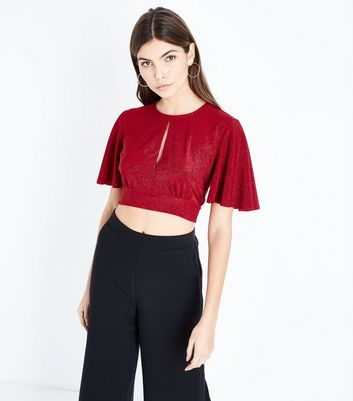 Red Glitter Keyhole Crop Top New Look