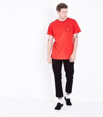 Red Happy Dayz Logo Print T-Shirt New Look
