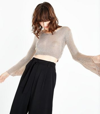 QED Rose Gold Glitter Flare Sleeve Crop Top New Look