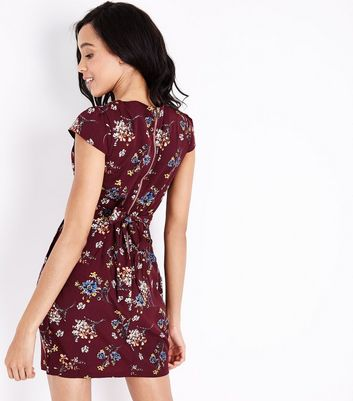 QED Red Floral Tie Back Tulip Dress New Look