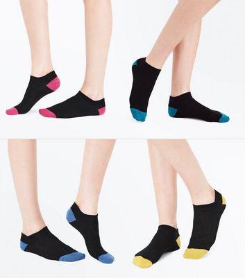 4 Pack Black Glitter Panel Trainer Socks New Look
