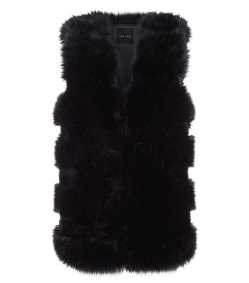 Black Pelted Faux Fur Gilet New Look