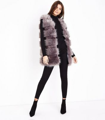 Grey Pelted Faux Fur Gilet New Look