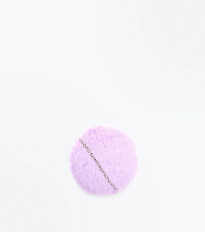 Lilac Faux Fur Round Cross Body Bag  8af97c2ee6b9a