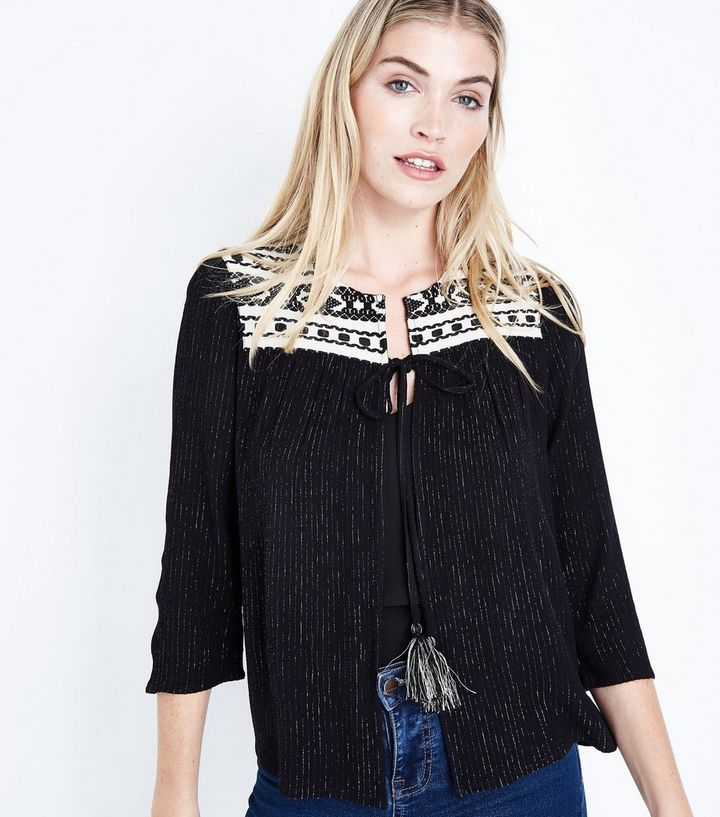 994611007a8bc Black Glitter Embroidered Tassel Tie Cover Up