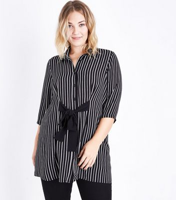 Curves Black Stripe Tie Front Longline Shirt New Look