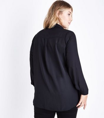 Curves Black Zip Front Long Sleeve Shirt New Look