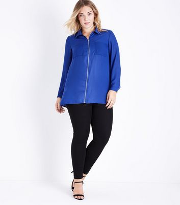 Curves Blue Zip Front Long Sleeve Shirt New Look