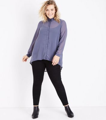 Curves Pale Blue Dip Hem Chiffon Shirt New Look