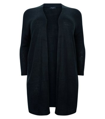 Curves Black Brushed Knit Longline Cardigan New Look