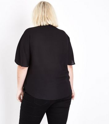 Curves Black Tie Neck Blouse New Look