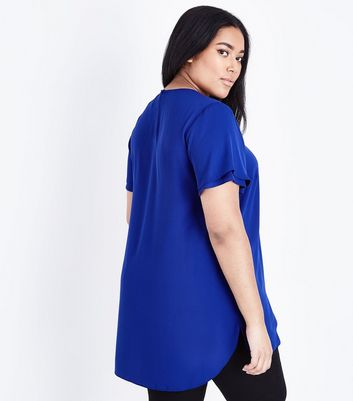 Curves Bright Blue Tiered Sleeve Top New Look