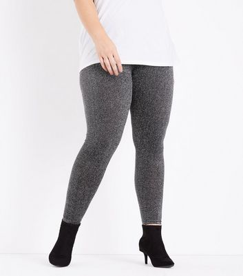 Curves Silver Glitter High Waist Leggings New Look