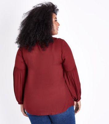 Curves Burgundy Lace Trim Tie Neck Blouse New Look