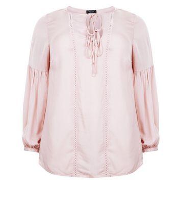 Curves Pale Pink Lace Trim Tie Neck Blouse New Look