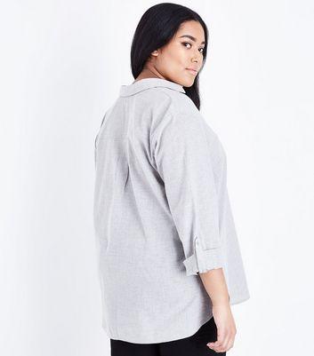 Curves Grey Woven Overhead Shirt New Look
