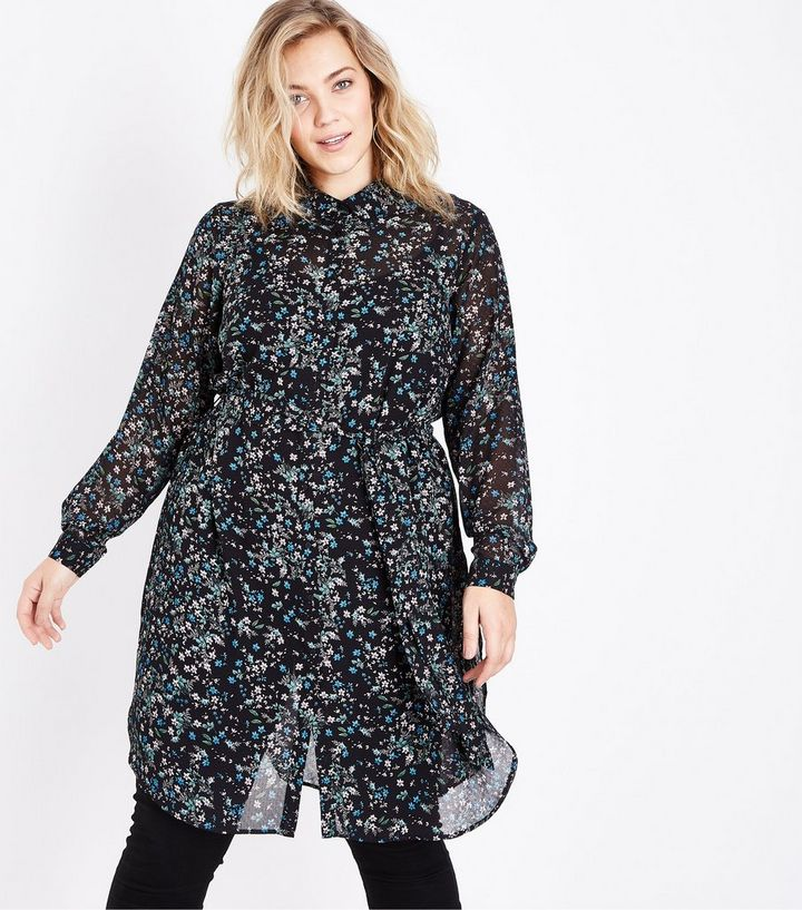 f0c69c84 Curves Black Ditsy Floral Chiffon Longline Shirt | New Look