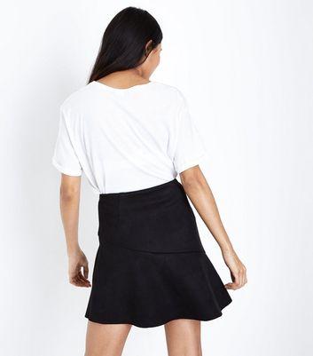 Petite Black Asymmetric Frill Trim Mini Skirt New Look