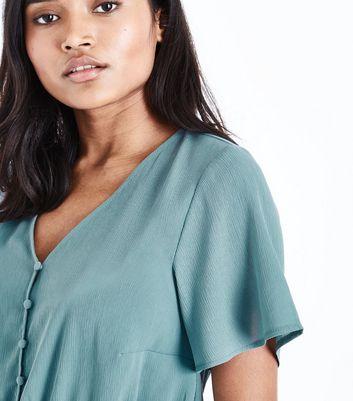 Petite Green Button Front Peplum Blouse New Look