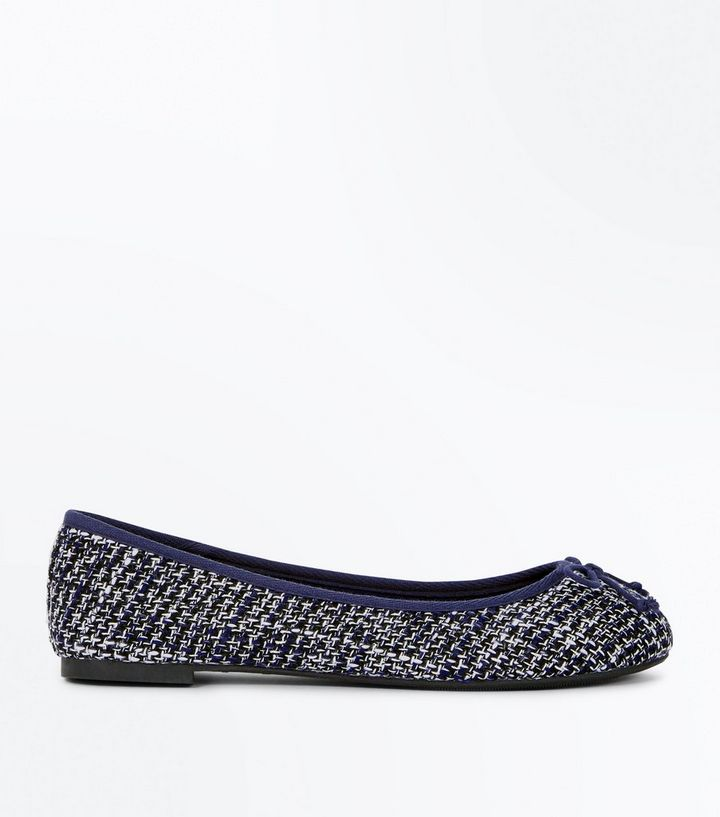 a063f6bfaae Wide Fit Navy Boucle Ballet Pumps