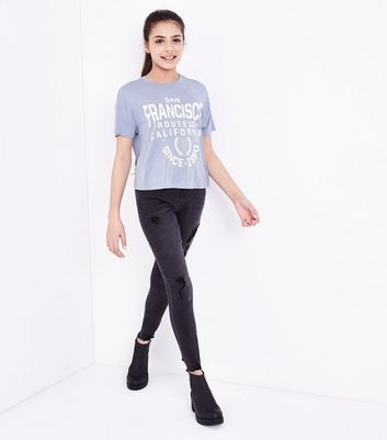 Teens Pale Blue San Francisco Print T-Shirt New Look