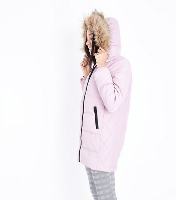 Shell Pink Longline Puffer Jacket New Look