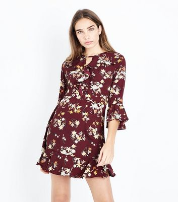 Urban Bliss Red Floral Print Frill Trim Front Dress New Look