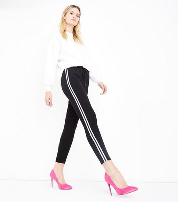 Cameo Rose Black Contrast Stripe Trousers New Look
