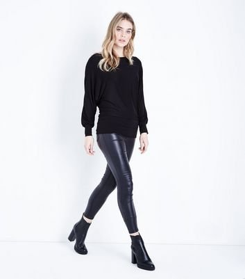 QED Black Oversized Hem Top New Look